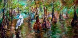 Art: BLUE HERON BAYOU by Artist Marcia Baldwin
