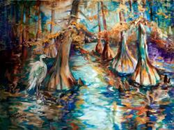 Art: CYPRESS TREE BAYOU & EGRET by Artist Marcia Baldwin