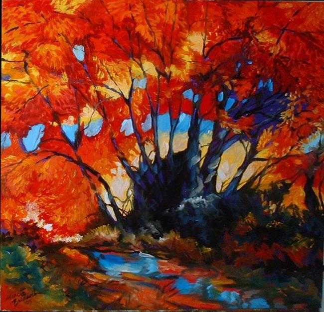 Art: Fall Landscape Red Trees by Artist Marcia Baldwin