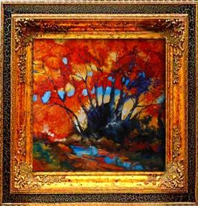 Detail Image for art Fall Landscape Red Trees