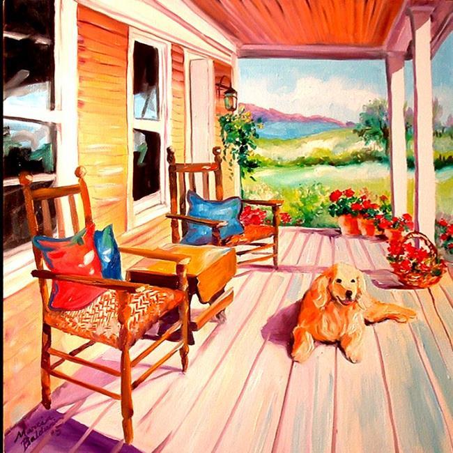 Art: MY FRONT PORCH POOCH by Artist Marcia Baldwin