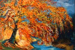 Art: Crimson Willow Tree by Artist Marcia Baldwin
