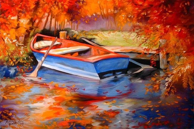 Art: BLUE ROW BOAT by Artist Marcia Baldwin