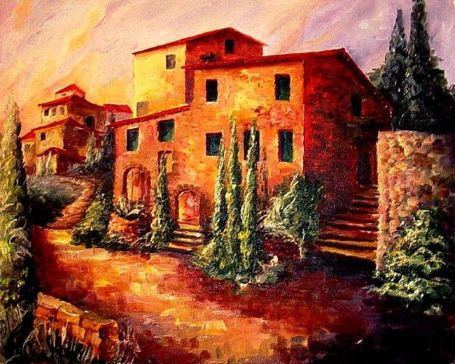 Art: Sunset in Tuscany -SOLD by Artist Diane Millsap
