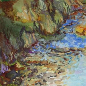 Detail Image for art CREEK BED LANDSCAPE in PASTEL