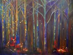 Art: Woods in Autumn by Artist Claire Bull