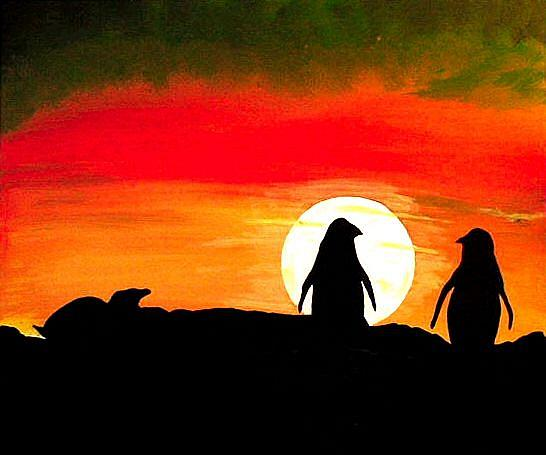 Art: Penguin Sunset by Artist Dia Spriggs