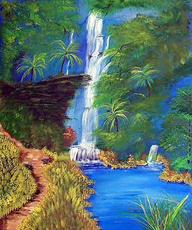 Art: Jungle Waterfalls by Artist Dia Spriggs