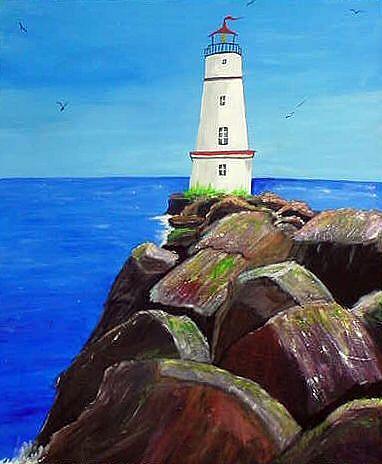 Art: Lighthouse Rocks by Artist Dia Spriggs