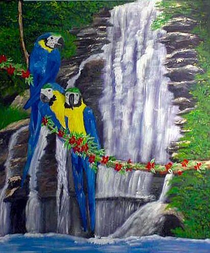 Art: Macaw Waterfall by Artist Dia Spriggs