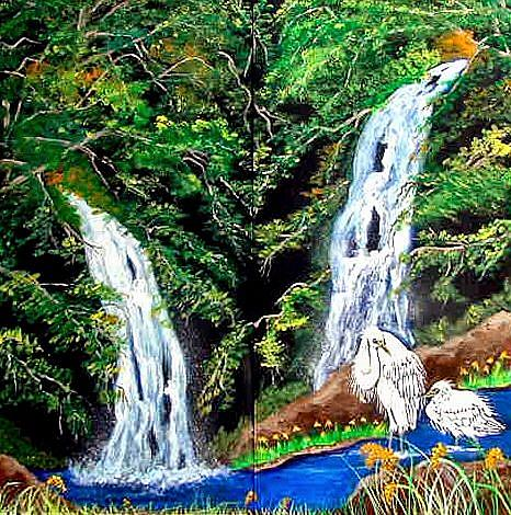 Art: Egret Falls by Artist Dia Spriggs