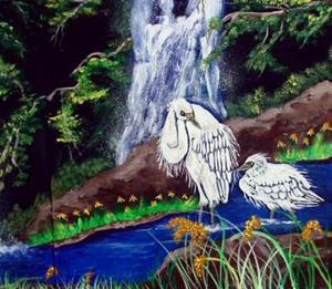 Detail Image for art Egret Falls