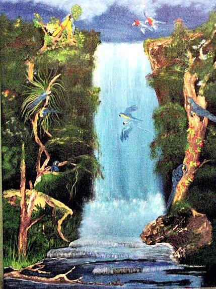 Art: Jungle Macaws by Artist Dia Spriggs