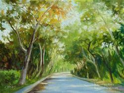 Art: Sycamores of Arroyo Drive, South Pasadena by impressionist Karen Winters by Artist Karen Winters
