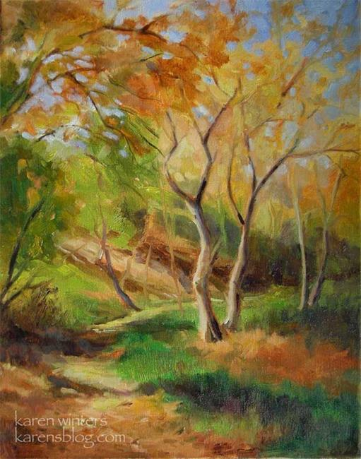 Art: Autumn Joy - Flint Canyon La Canada Impressionist Oil Painting by Artist Karen Winters