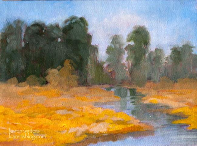 Art: Wildflower Stream - Eucalyptus and Poppies by Artist Karen Winters