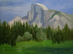 Art: Yosemite Half Dome oil painting from Yosemite Valley by Artist Karen Winters