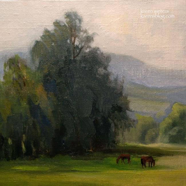 Art: Peaceful Pasture - California Landscape Oil Painting Equestrian Horses SOLD by Artist Karen Winters