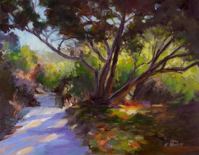 Art: California Oak Trail Impressionist Landscape Oil Painting by Artist Karen Winters