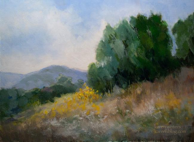 Art: California Pepper Tree Hillside Landscape Oil Painting by Artist Karen Winters