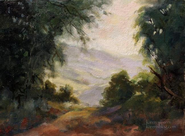 Art: Crescenta Canada Valley Oil Painting - San Gabriel Mountains Vista by Artist Karen Winters