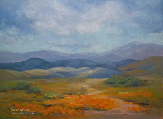 Art: California Poppy Fields - Lancaster Poppy Reserve oil painting SOLD by Artist Karen Winters