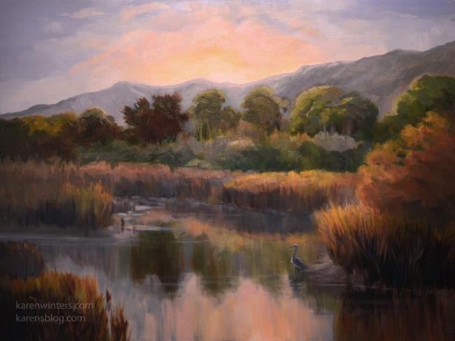 Art: Sunrise at Malibu Lagoon oil painting by Karen Winters - SOLD by Artist Karen Winters