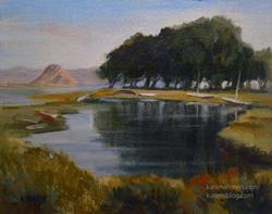 Art: Morro Bay High Tide - Los Osos - San Luis Obispo painting by Artist Karen Winters