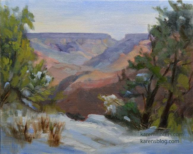 Art: Grand Canyon Maricopa Point South Rim oil painting plein air by Artist Karen Winters