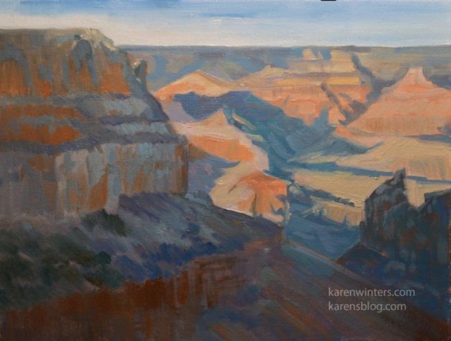 Art: Grand Canyon South Rim Plein Air Oil Painting from El Tovar Hotel, winter by Artist Karen Winters