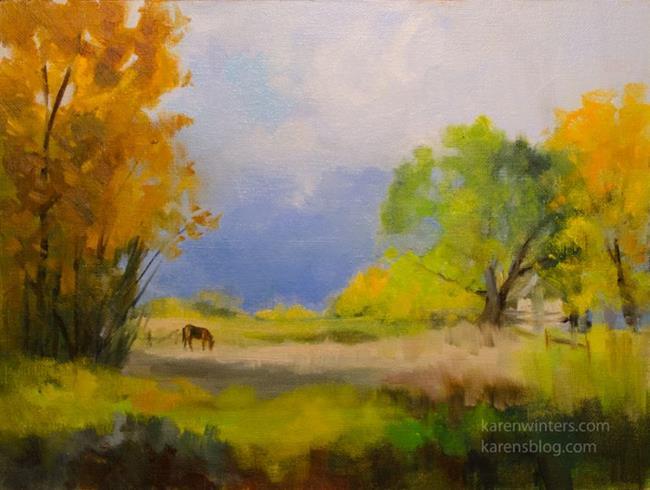 Art: Grazing at Bishop Sierra landscape oil painting by Artist Karen Winters