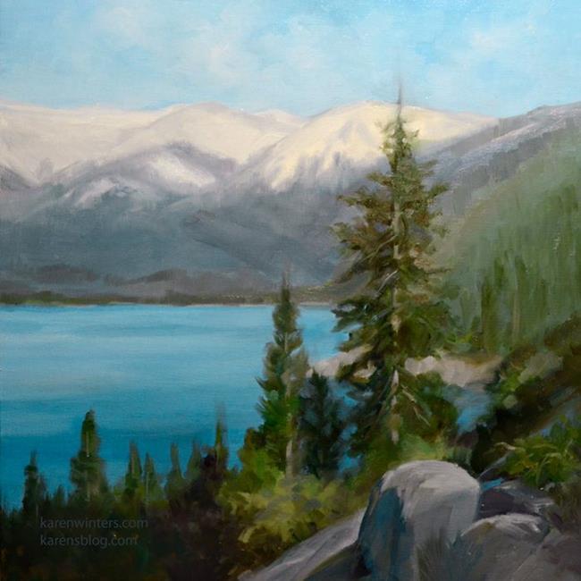 Art: Above Blue Waters - Lake Tahoe oil painting SOLD by Artist Karen Winters