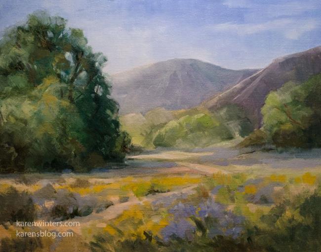 Art: Laguna Canyon Trail oil painting springtime wildflowers by Artist Karen Winters
