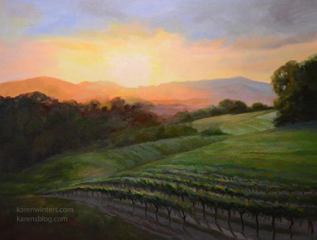 Art: Sauvignon Sunset Paso Robles California landscape oil painting SOLD by Artist Karen Winters
