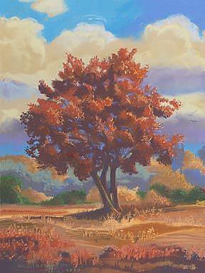 Art: Trees In A Meadow by Artist Carol Thompson