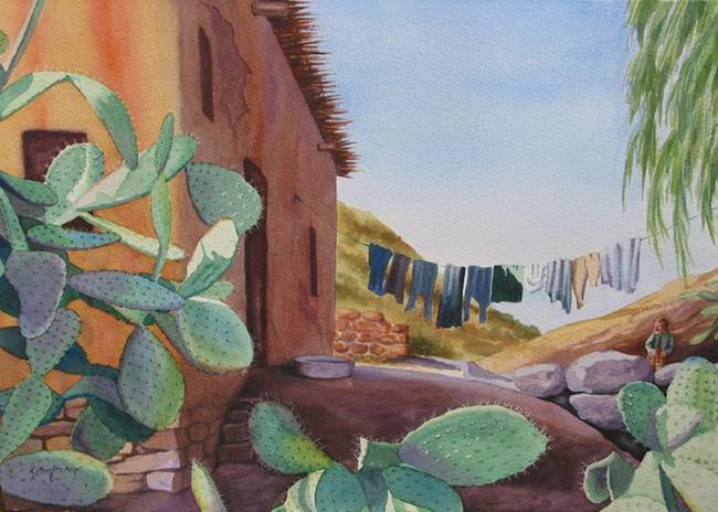 Art: Laundry Day SOLD by Artist Kathy Haney