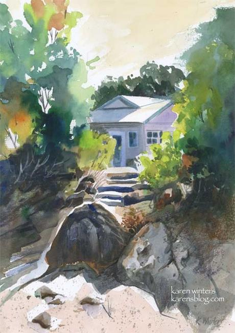 Art: Santa Barbara Botanic Garden Cottage by Artist Karen Winters