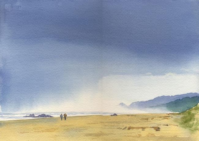 Art: Stormy Beach SOLD by Artist Kathy Haney