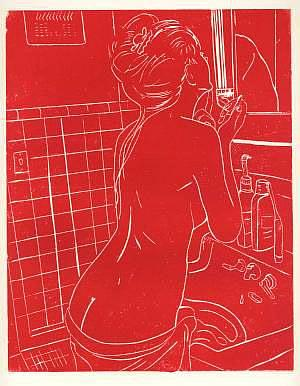 Art: Nude Putting on Makeup by Artist Larry Joe Miller