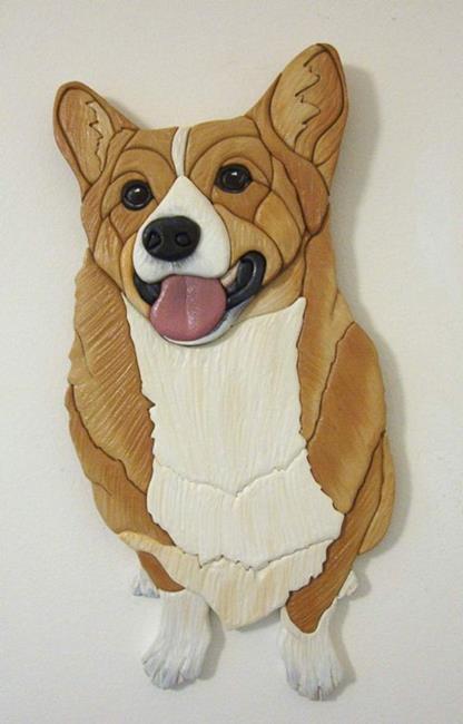 Art: Laughing Corgi Original Painted Intarsia Art by Artist Gina Stern