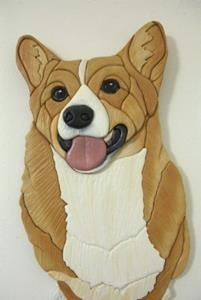 Detail Image for art Laughing Corgi Original Painted Intarsia Art
