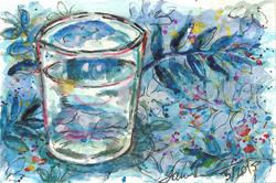 Art: Glass on Blue Tablecloth by Artist Laura Ross