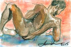 Art: Leaning Man by Artist Laura Ross