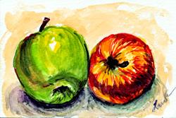 Art: Two Apples by Artist Laura Ross