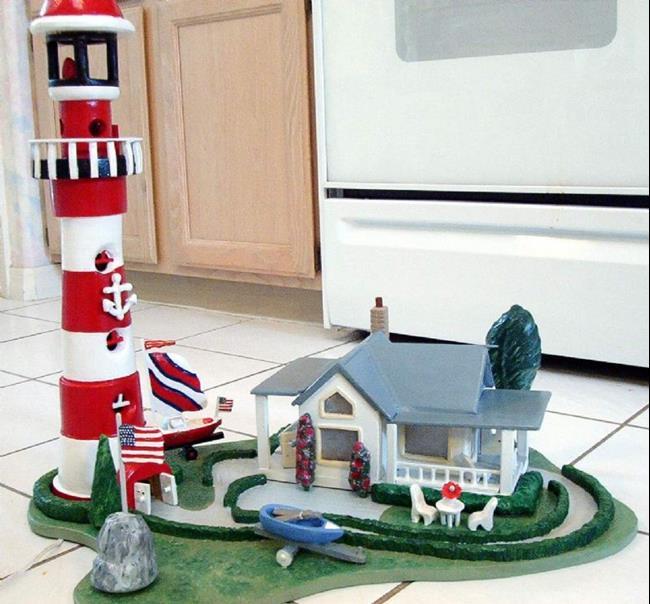 Art: Lighthouse Village by Artist Gina Stern