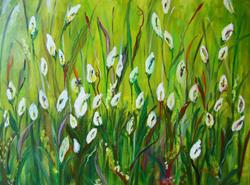 Art: White Lilies in the Field, SOLD by Artist Delilah Smith