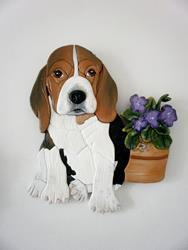 Art: Lilly Beagle Pup Original Painted Intarsia Art by Artist Gina Stern