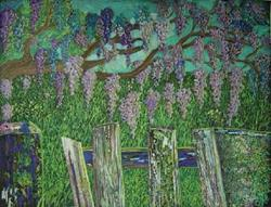 Art: Wisteria over the Gate by Artist Stefan Duncan