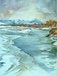 Art: Emigrant Peak from Carter's Bridge by Artist Lynn Bickerton Chan