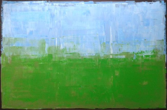 Art: Blue Green Abstraction 142 (s) by Artist Luba Lubin